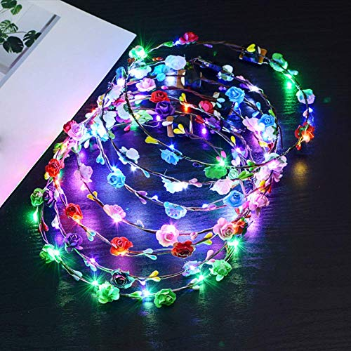 LED Flower Headband, 10 Pack Mul...