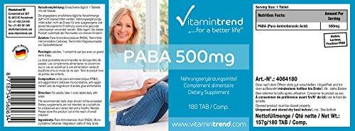 Paba 500mg, vegan, para-aminobenzoic acid, vitamin B10, vegan, 180 PABA tablets, bulk pack for 6 months