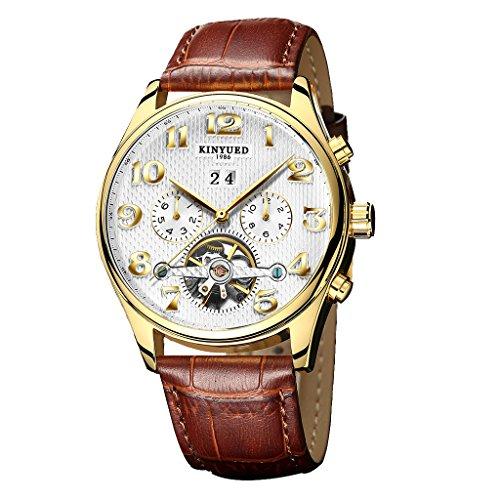 baosity kinyued automatic mechanical wristwatch genuine leather brown fancy xmas birthday gift wristwatch