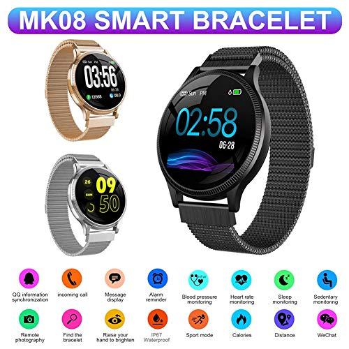 Todaytop MK08 Fitness Tracker Smart Armband unterstützt mehrere Sprachen APP, Wasserdichte Herzfrequenz, Blutdruck, Schlafüberwachung, Apple Health Access, Sport-Armbanduhr