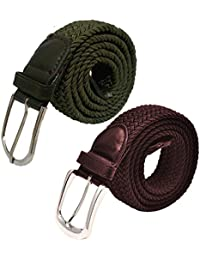 Pegaso (Pack Of 2)Women Streatchable Braided Belt Combo Pack Black & Blue