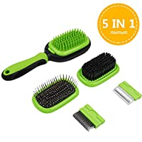 AriTan Updated Pet Brush 5 in 1, Dog and Cat Shedding Grooming Tools Suitable for Long or Short Hair Removes Undercoat, Dander, Dirt, Massages, Improves Circulation