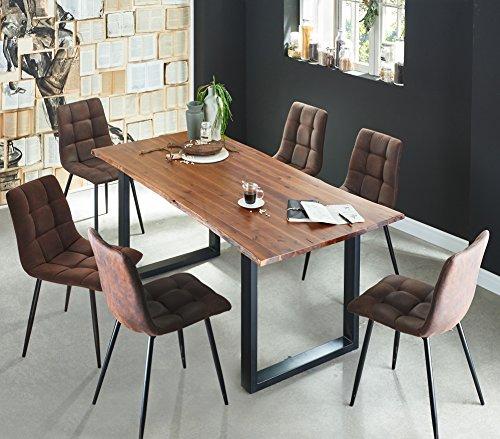 Ess-sets Bänke (SAM 7 TLG. Essgruppe Ida, Baumkantentisch 180x90 cm, Akazie-Holz cognacfarben, Gestell schwarz, 6X Schwingstuhl ULF braun)