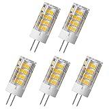 Aoxdi 5X LED Licht G4 5W LED Lampe, Warmweiß, 51x2835 SMD Stecklampe Sparlampe Leuchtmittel, Energiespar Licht sehr gut für die Wärmeabgabe, AC220-240V