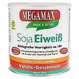 Megamax Soja Eiweiss (soy protein) Vanille. Für Muskelaufbau und Diaet. Biologische Wertigkeit ca. 100. Inhalt: 750 g.