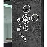 Auntwhale Diy Circle reloj de pared digital reloj de pared reloj mudo extraíble para el dormitorio sala de estar cocina TV fondo baño de pared dormitorio oficina (plata)