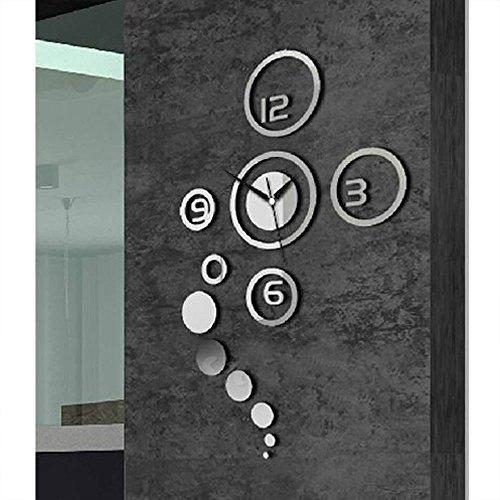 Auntwhale Diy Kreis Digitale Wanduhr Wanduhr Uhr Stumm Abnehmbar Für Schlafzimmer Wohnzimmer Küche Tv Hintergrund Wand Bad Schlafsaal Büro (Silber) (Digitale Trockene Bäder)