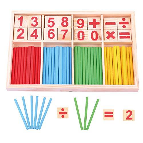 INTVN Set di Giocattoli Legno Giochi Educativi Montessori Barra dellIntelligenza Matematica Mattoncini Carte di Legno con Numeri e Bastoncini per
