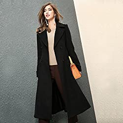 MO Fashion Women 'S Autumn and Winter Jacket Temperament High-End Waist Waist Long Section Lapel Coat from MO