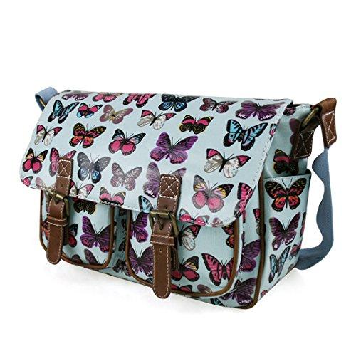 Miss Lulu Damen Wachstuchtasche Tupfendruck Elefant Katzen Eule Blumen Gepunktet Totenkopf Schmetterling Schulranzen Satchel Butterfly Blue