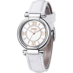 Inwet Women's Classic Quartz Watch with Analogue Display and White Leather Strap