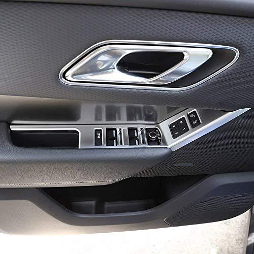 Conduite à Gauche ABS fenêtre en Plastique Bouton de Levage de Cadre de Couverture de Cadre de kit d'accessoires de Voiture pour LHD Velar 2017 2018 Argent Mat