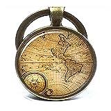 Mapa llavero clave cadena, antiguo Mapas, Mundo Llavero, llavero con Foto, antiguo Mapas, Mundo Llavero azul llavero, regalo de viaje, Vintage