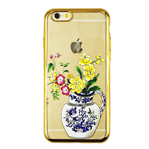 iPhone 6S Plus Hülle Silicone,iPhone 6S Plus Hülle Glitzer,iPhone 6S Plus / 6 Plus Hülle TPU Case Schutzhülle Silikon Crystal Clear Case,EMAXELERS iPhone 6S Plus Hülle Bunte Blumen Schmetterling Muste Gold TPU 7