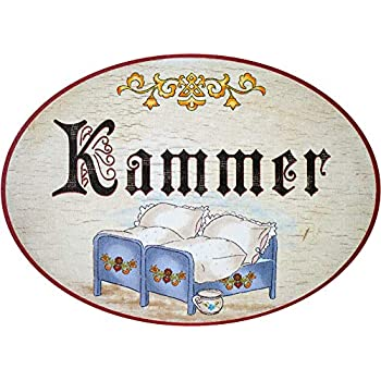/Ø 18/cm /Targa per porta in legno antico motivo Camera da letto Regali Kaltner/