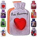 Wärmflaschenbezug 1L, mit und ohne Wärmflasche 1 Liter, Auswahl: Herz, mit Wärmflasche