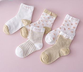 Chic-chic 5 Pairs Cute Toddler Newborn Baby Socks Lovely Soft Elastic Ankle Socks For Baby Girls Boys (12-36 Months, Khaki) 1