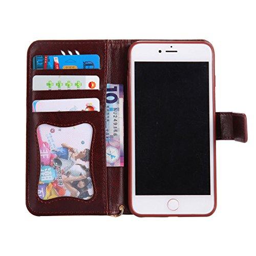 iPhone 7 Plus Custodia, Case del portafoglio [ Cuoio Premium PU ] iPhone 7 Plus Copertura Supporto per scheda di funzione del supporto per notebook e Slot Cover - farfalla Ragazza gatto ( Grigio ) Marrone
