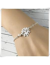 Lotus Pulsera de plata de ley flor de loto, pulsera de flor de loto, joyería delicada, regalo de loto,