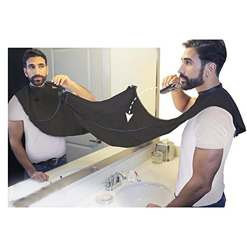 SUNWALY Shave Apron Trim Your Beard In Minutes Without The Mess And Stop Clogging Your Sink! Quality Grooming Cape - Keep Your Sink Clean and Girlfriend Happy! The Best Shaving Beard Gift! (Black)