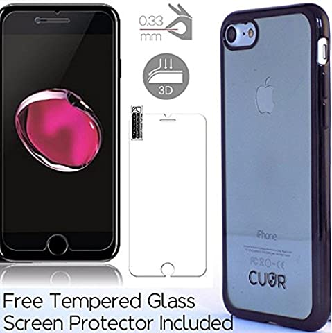 iPhone 7 Plus Case Cover and Screen Protector Bundle by CUVR. Metallic Bumper with Transparent Back Cases for Apple iPhone 7 Plus (Grey)