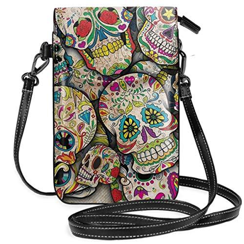 Liliylove Sugar Skull Collage Leichte kleine Umhängetasche, Handtasche, Geldbörse, Geldbörse für Frauen und Mädchen mit praktischer Tragetasche