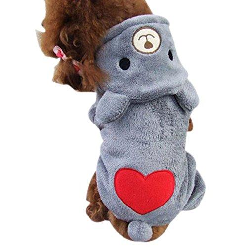Hawkimin Haustier Kapuzenpullover Bär Herzförmig Baumwollmischung Nettes Overall Mit Kapuze Hunde Mantel Hündchen Rock Pullover - Halsband Leder Auto Mantel