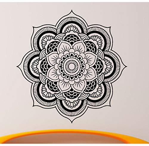 Arte extraíble Curvado Tatuajes de pared Mandala Yoga Ornamento Indian Buddha Symbol Decal Vinilo Etiqueta de la Decoración Del Hogar Flor 57x57 cm