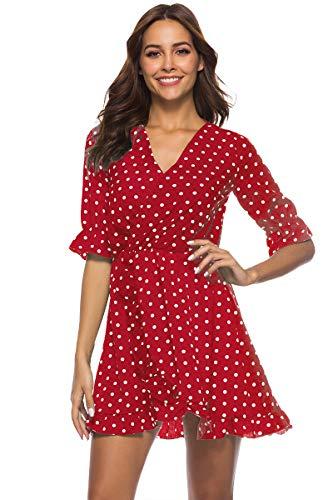 Vestido De Cóctel Lunares Sin Mangas Elegantes Vintage Verano Lápiz Vestidos De Fiesta Mujer Cortos Rojo M
