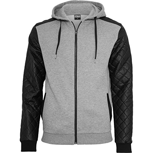 Urban Classics Diamond Leather Imitation Sleeve Zip Hoody, Sweat-Shirt à Capuche Homme Urban Classics