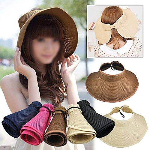Viskey-Fashion Girl Lady spiaggia sole visiera pieghevole Arrotolare tesa larga cappello di paglia Cap Khaki