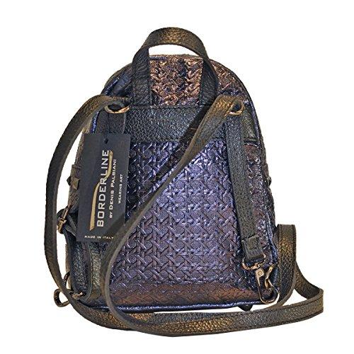 BORDERLINE - 100% Made in Italy - Frauen Rucksack echtes Leder - CHIARA Violet