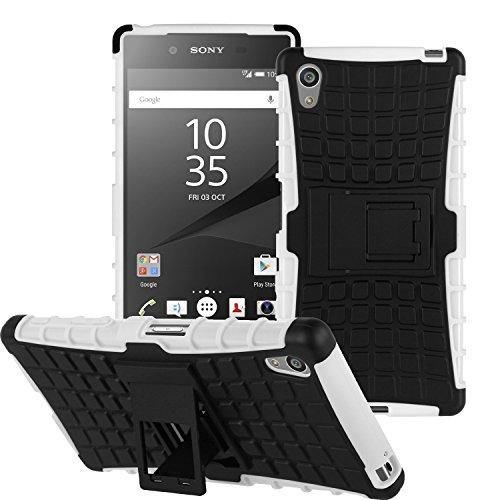 Etui ProteKtoR Sony Xperia Z5 Dual Sim blanc/noir avec stand - Housse coque de protection Silicone avec stand Sony Xperia Z5 5.2 4G - Prix découverte accessoires pochette XEPTIO case