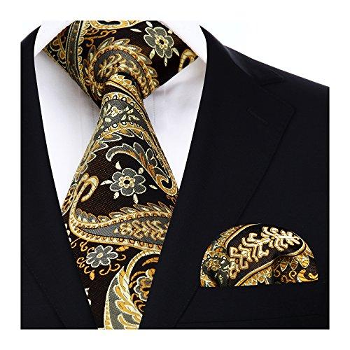 Hisdern Extra lange Blumen Paisley Krawatte Taschentuch Herren Krawatte & Einstecktuch Set Gold-braun -