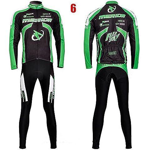 S-3XL de otoño / invierno ciclismo conjunto unisex para adultos Jersey manga + 3D pantalones acolchados