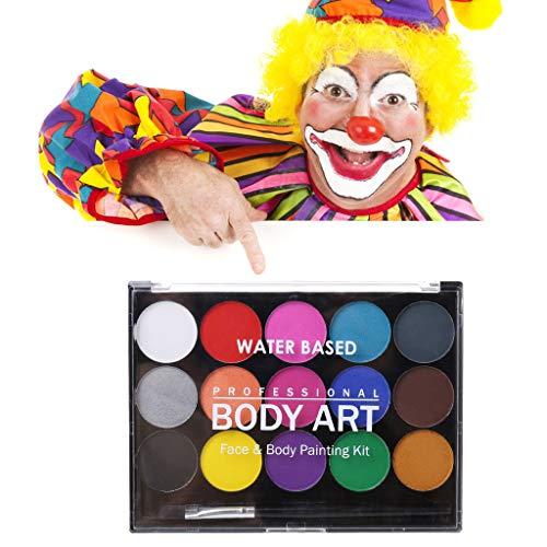 ShowkingL 15 Farben Ungiftig Wasserlösliche Körper Malen Pigmente Make-up Gesicht Malerei Kit Mit Pinsel Für Weihnachten Phantasie Karneval Party