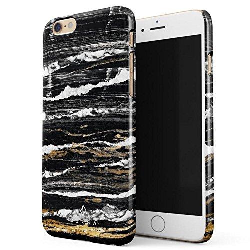 iPhone 6 / 6s Hülle, BURGA Schwarz Mit Gold Onyx Marmor Muster Black Gold Marble Dünn, Robuste Rückschale aus Kunststoff Für iPhone 6 / 6s Handyhülle Schutz Case Cover (Teal Color-iphone 6 Case)