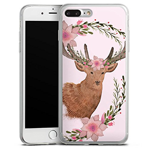 Apple iPhone 5s Slim Case Silikon Hülle Schutzhülle Reh Blumen Deer Silikon Slim Case transparent