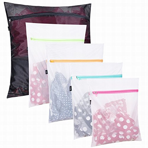 Set von 5 Mesh Wäschekorb bags-1 Großer, 2 mittlere und 2 kleine für Wäsche, Bluse, Strumpfwaren, Lagerhaltung, Unterwäsche, BH und Dessous, Reisen Wäschesack, Polyester-Mischgewebe, weiß, (Wash Bag Mesh-bh)