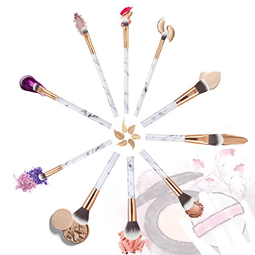 Make Up Brushes Start Makers Professional 10 Pieces Unique Style Marble Makeup Brushes Set Cosmetic Foundation Brush Powder Brush Eyeshadow Brushes with Make Up Sponge Silicone and Travel Bag