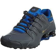 NIKE Shox NZ Se Men's Shoes Dark Grey/Metallic Gold/Hyper Cobalt 833579-004 (8 D(M) US)