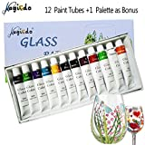 Magicdo® 12 Farben Glasfarben mit Palette, professionelle Glasfarbe Set, hochwertige ungiftige Acrylfarbe für Glas, Multi-Surface Satin Glas Craft Paint Set, reiches Pigment (12 x 12ML)