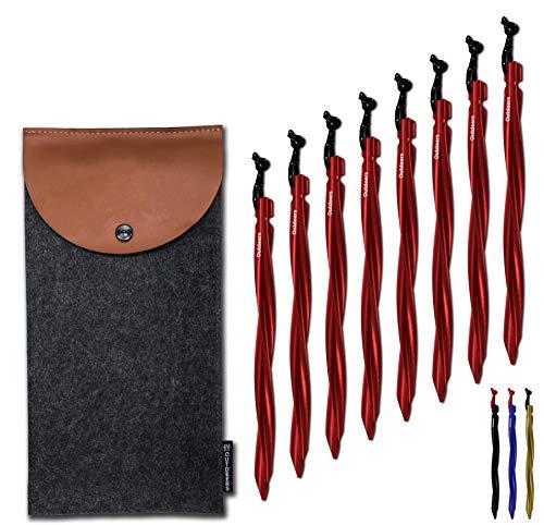 8X/6X Zeltheringe aus Aluminium in schwarz und rot | Schraubenförmig Zeltnagel mit reflektierender Kordel inklusive Tasche | 25 cm | für lose und festere Böden | Zelt Hering, Erdanker, Camping