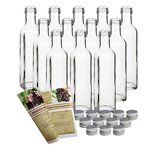"""gouveo 12 leere Glasflaschen 250 ml \""""Maraska\"""" incl. Schraubverschluss und Rezeptbroschüre, Eckig, Likörflasche Schnapsflasche, Essigflasche, Ölflasche"""