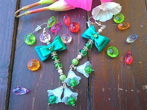 Ohrringe von Frau in Fimo: Flocken Grün ~ AstraLuna Bijoux (Emerald Girl Kostüm)