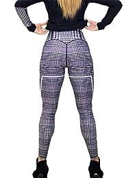 CHUANGLI Womens Plaid Print Sports Gym Yoga Workout Athletic Leggings Pants