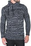 Karl's people Herren Strick Kapuzen Pullover mit Schalkragen in verschieden Farben 7510, Größe L, Farbe Black