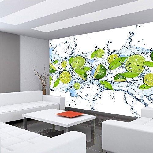 Vlies Fototapete 350×245 cm PREMIUM PLUS Wand Foto Tapete Wand Bild Vliestapete – Kulinarisches Tapete Limetten Wasser Blätter Tropfen Obst Frucht grün – no. 864 - 6