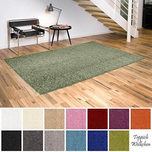 Teppich Wölkchen Shaggy-Teppich | Flauschige Hochflor Teppiche für Wohnzimmer Küche Flur Schlafzimmer oder Kinderzimmer | Einfarbig, schadstoffgeprüft, allergikergeeignet (Grün, 60 x 90 cm) - Grün Und Braun-teppiche