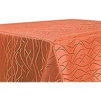 Tischdecke, FARBE wählbar, Streifen Damast Textil, Bügelfrei, Rund 180 cm, Terracotta